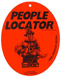 People Locator Fire Rescue Decal with Suction Cup