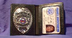 #1b:  PI BADGE <br>SILVER & CUSTOM LEATHER WALLET (2-PANEL)