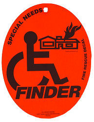 Special Needs Finder Fire Rescue Decal with Suction Cup
